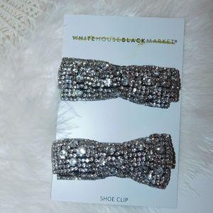 White House Black Market Crystal Bow Tie Shoe Clip